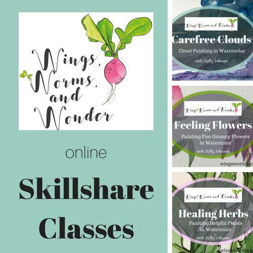 Explore nature by painting with watercolor in the Wings, Worms, and Wonder nature journaling classes on Skillshare!