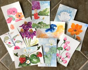 Wings, Worms, and Wonder nature inspired watercolor originals by Kelly Johnson