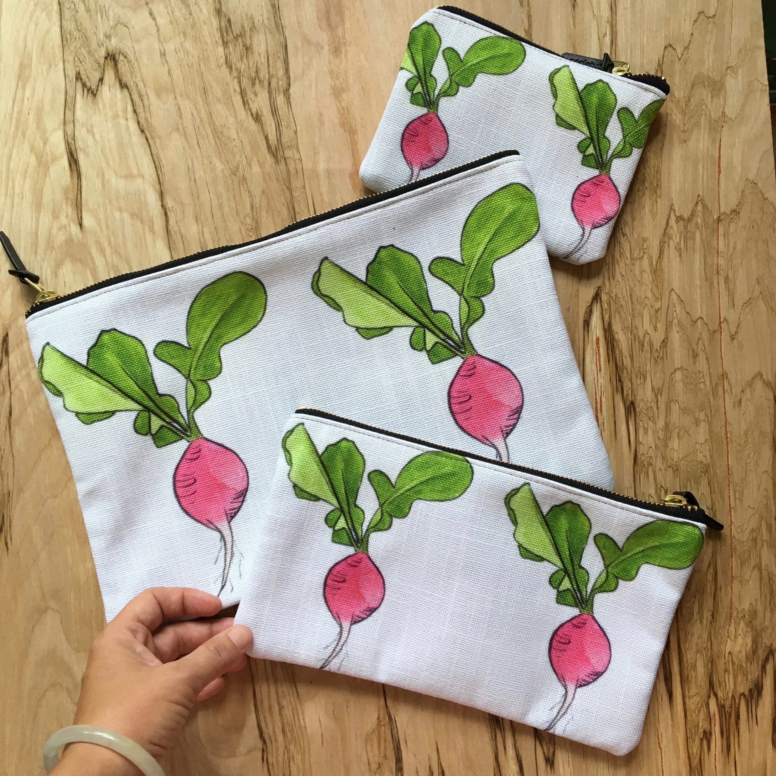 Signature radish pouches by Wings, Worms, and Wonder